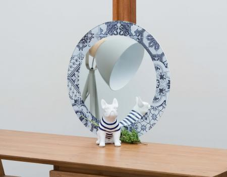Round Blue Antique Mirror. In Glass Design 3